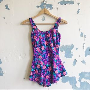 Maxine of Hollywood Vintage Floral Skirt Swimsuit